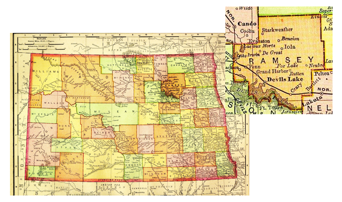 Map North Dakota Ramsey County | Sons of Jacob Cemetery