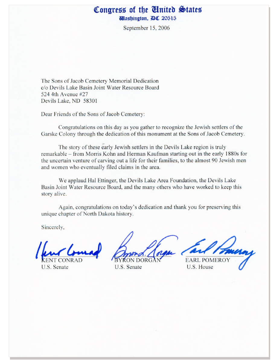 Letter From US Congress